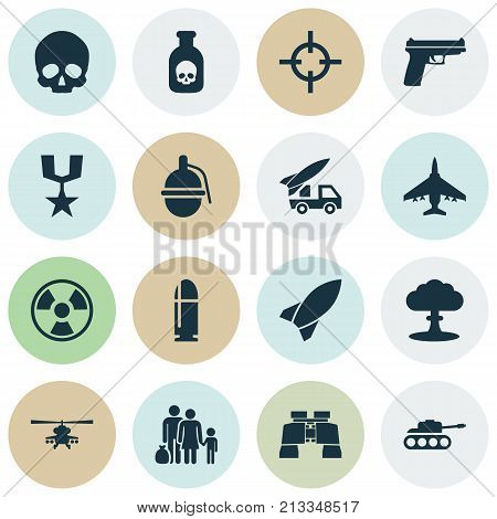 Includes Icons Such As Cranium, Target, Ordnance And Other.  Warfare Icons Set.