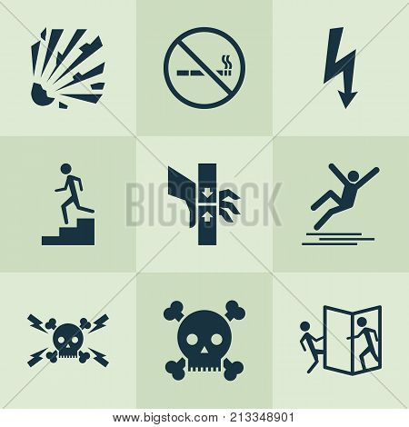 Includes Icons Such As Cigarette Forbidden, Skull, Lightning And Other.  Safety Icons Set.