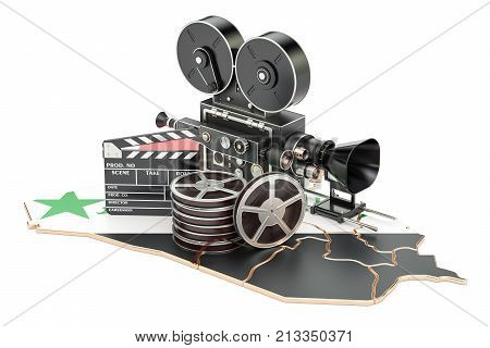 Syrian cinematography film industry concept. 3D rendering isolated on white background