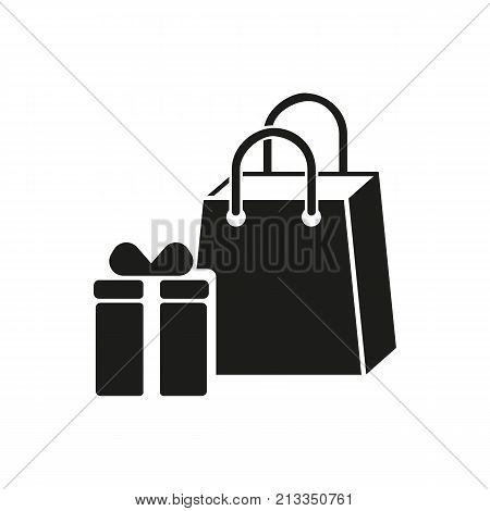 Icon of shopping bags. Gift box, surprise, purchase. Shopping concept. Can be used for topics like Christmas present, sale, consumerism