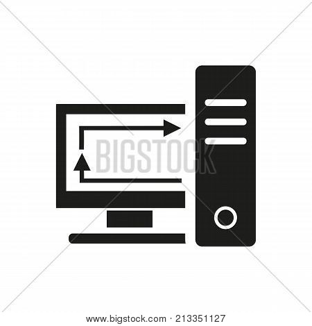 Icon of syncing files. Computer, reinstalling, ensuring. Web page concept. Can be used for topics like home backup, technology, software