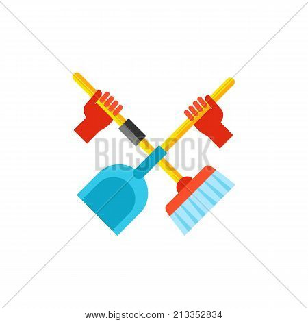 Vector icon of hands holding broom and scoop crossed. Cleaning battle, cleanup, housework. Cleaning service concept. Can be used for topics like service, housekeeping, hygiene