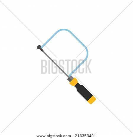 Vector icon of hacksaw. Carpenter tool, building, repairing. Woodwork concept. Can be used for topics like construction, renovation, craft