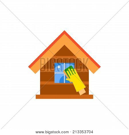 Vector icon of hand in rubber glove washing window of house. Cleaning house, housework, cleanup. Cleaning service concept. Can be used for topics like service, housekeeping, hygiene