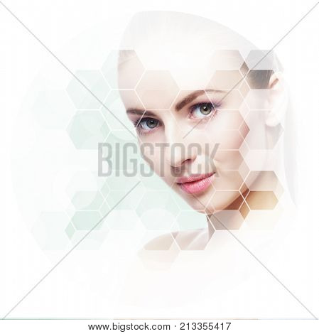 Portrait of young, healthy and beautiful woman (plastic surgery, skin lifting, spa, cosmetics and medicine concept)