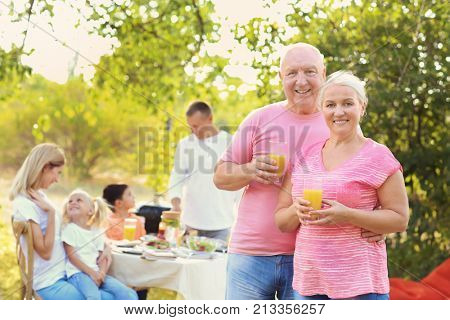 Happy senior couple with family having barbecue party outdoors