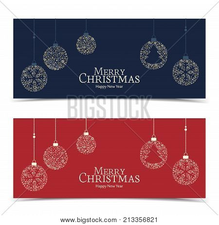 Vector illustration of a Christmas balls decoration made from stars. Happy Christmas banners