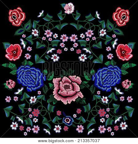 Embroidery ethnic pattern with simplify roses and peonies. Vector trend floral bouquet. Tribal style design for fashion wearing.