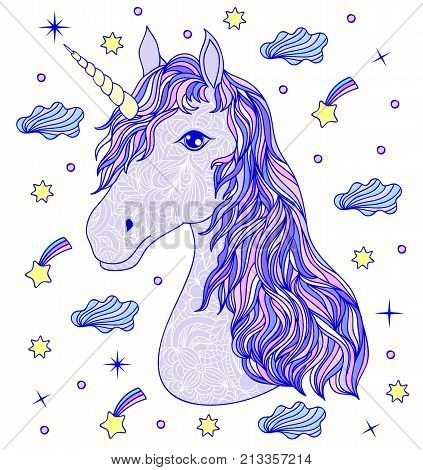 Head of hand drawn unicorn on white background.