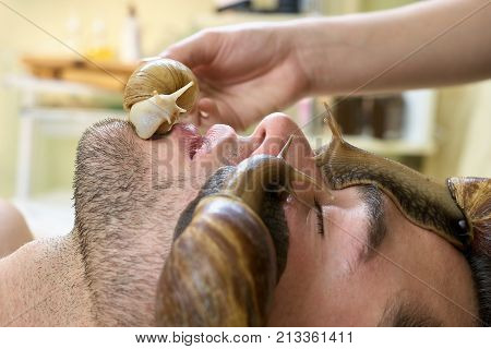 Snails on handsome man face close up. Cleaning and peeling of young man face in spa salon. Modern cosmetological procedure for skin tratment.