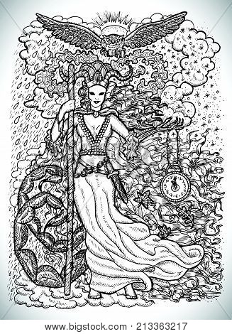 November month graphic concept. Hand drawn engraved fantasy illustration. Scary queen of Autumn with clock in skeleton hand against the background of rain and snow