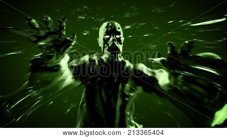 Grim zombie attack zombie monster run. 3D illustration in black and red colors. Scary character on green background.