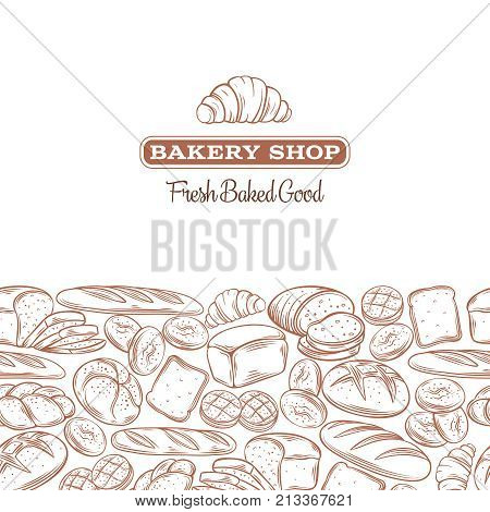 Food template frame and page design for bakery . Hand drawn sketch rye and wheat bread, croissant, whole grain bread, bagel, toast bread, french baguette for design menu bakery shop.