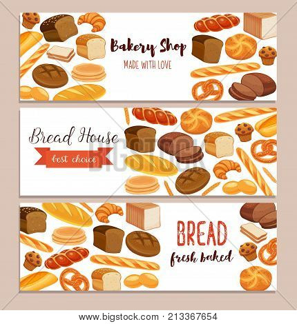 Banner template food with bread products. Rye bread and pretzel, muffin, pita, ciabatta and croissant, wheat and whole grain bread, bagel, toast bread, french baguette for design menu bakery.