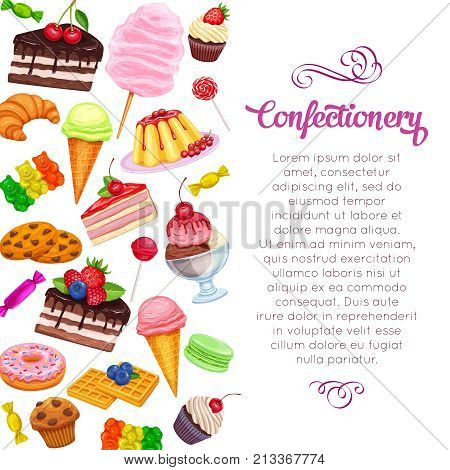 Vector template page design with confectionery and sweets icons. Dessert, lollipop, ice cream with candies, macaron and pudding. Donut and cotton candy, muffin, waffles, biscuits and jelly
