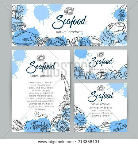 Corporate style template with hand drawn seafood. Vector sketch mussel, fish salmon and shrimp. Lobster, squid, octopus, scallop, lobster, craps or mollusk, oyster and tuna for product market.