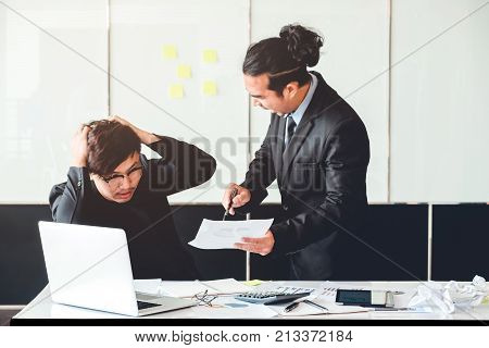 Asian Bad Angry Boss Yelling At Business Man Sad Depressed Employee Reprimand From Team Leader Misse