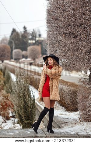 Young attractive girl outdoors in winter. She is wearing a wide-brimmed hat and a fur coat. A girl is walking in the winter park