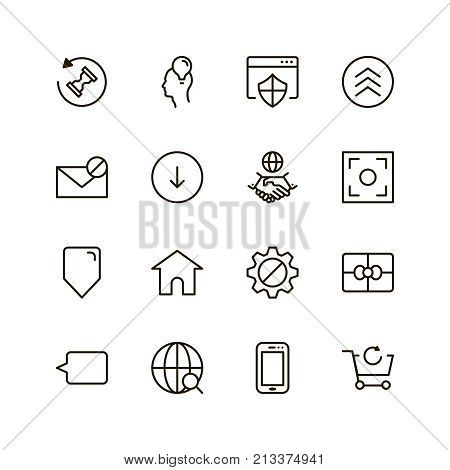 Website icon set. Collection of high quality outline site pictograms in modern flat style. Black internet symbol for web design and mobile app on white background. Web site design line logo.