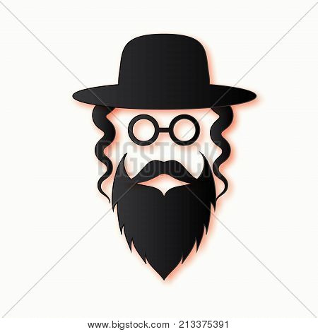 Jewish men in the traditional clothing. Ortodox Jew hat, mustache, glasses, sidelocks and beard. Man concept. Israel people. Black Paper cut style. Vector illustrator