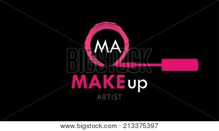 Makeup Artist business card logo template. Pink Mascara brush and textured circle stroke of mascara on black background. Fashion design of emblem for stylist. Perfect logotype and business card