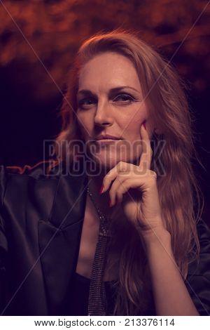 Mysterious Beautiful One Mature Caucasian Woman Posing, Late 40S, Ex Fashion Model, Posing Portrait