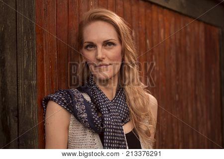 One Mature Caucasian Woman, Later 40S, Ex Fashion Model, Posing Portrait Outdoors Nature, Head Face