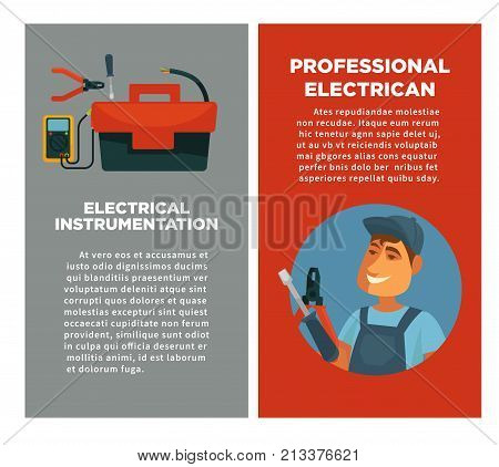 Electrical instrumentation and professional electrician promo posters with sample text, man in uniform with metal screwdriver and solid pliers, big toolkit and compact voltmeter vector illustrations.