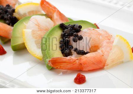 Shrimp Cocktail With Black Caviar