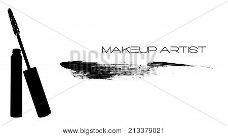 Mascara Applicator With Tube And Smear, Stroke, Trace From Mascara. Makeup Artist Logo, T-shirt Desi