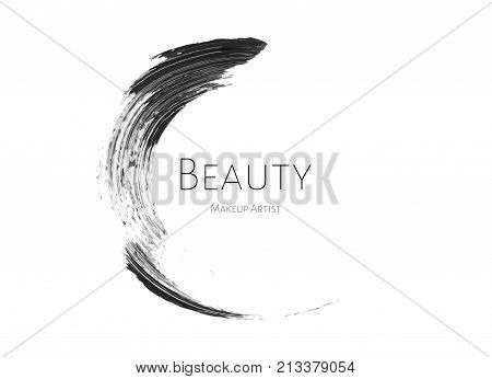 Beauty Makeup Artist Logo Template With Black Textured Mascara Stroke Circle And Inscription Beauty