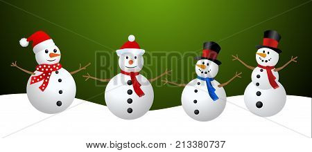 Snowman Collection. Snowman set isolated on green background