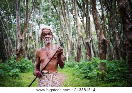 Rubber farmer at a plantation in Sri Lanka