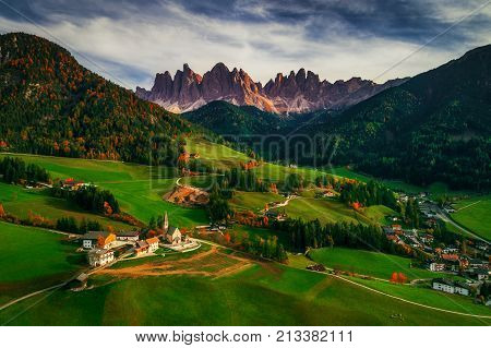 Santa Maddalena village in front of the Geisler or Odle Dolomites Group Val di Funes Trentino Alto Adige Italy Europe.
