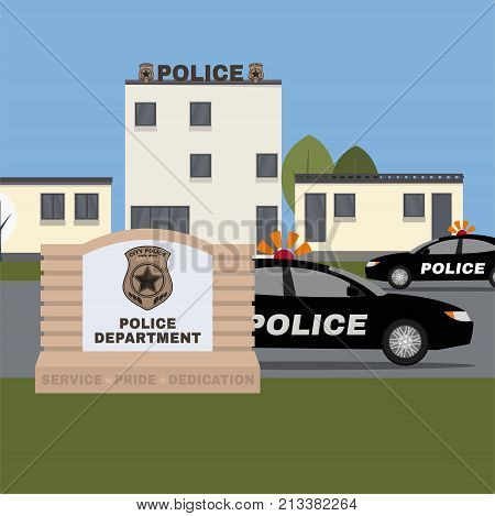 City police station building. Vector illustration with policeman and patrol car in flat style isolated on urban landscape background. Safety and justice concept.