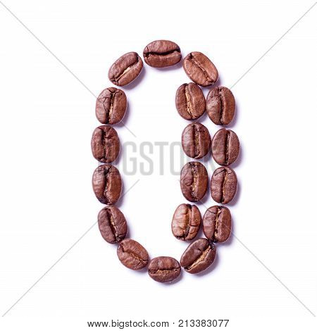 Number 0 nil zero made from coffee beans on isolated white background