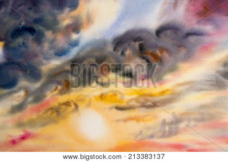 Watercolor painting cloud sky colorful rain clouds with sun in air and nature background. Hand Painted Impressionist illustration