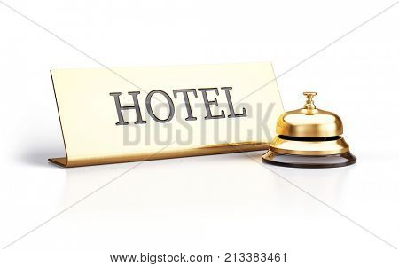 Golden reception bell and hotel sign isolated on white background - 3d rendering