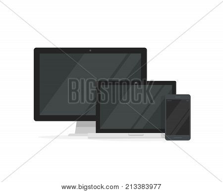 Desktop pc with laptop computer and smartphone displays vector illustration, flat cartoon design concept of blank screen devices for responsive mockup development isolated on white background