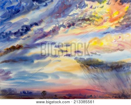 Watercolor painting original landscape colorful of rain clouds, meadow cornfield in mountain and nature. Hand Painted Impressionist image.