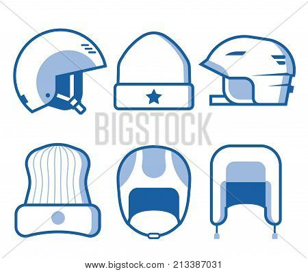 Extreme sport head wear icon set. Skiing and snowboarding helmets and caps line icons. Snowboarder protective hat in outline design. Winter activity headgear in monochrome.