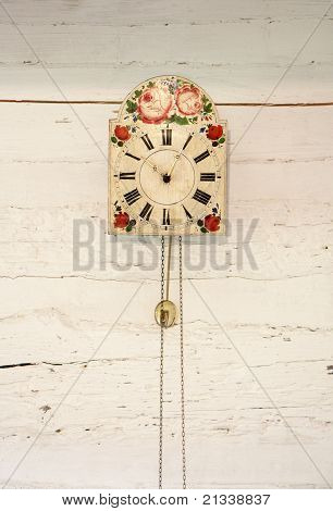 Vintage Clock On White Wall