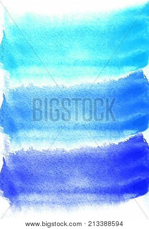 Card with watercolor blots. Blue and turquoise colors. Painting for your design. Abstract bright textured backdrop. Vector illustration. Hand painted texture for banner, logo, invitation, postcard.