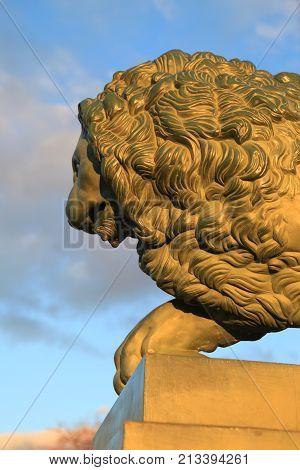 Saint-Petersburg, Russia - October 27, 2012: Lion in the Admiralty Embankment in Saint-Petersburg