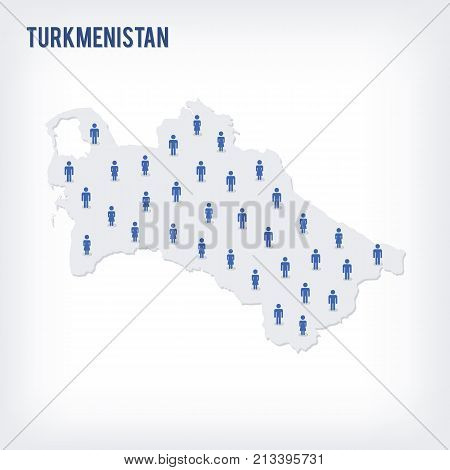 Vector People Map Of Turkmenistan . The Concept Of Population.