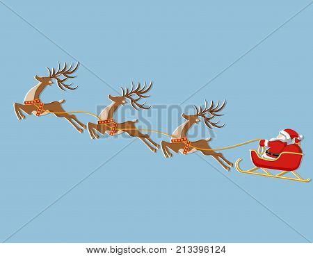 New Year Christmas. Picture of a deer, sleigh and Santa Claus. In color. Cut from white paper with a shadow. Vector illustration