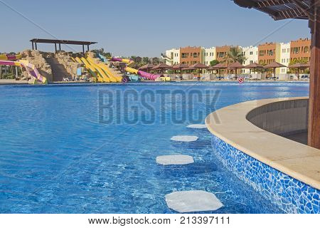Swimming Pool With Bar In A Luxury Tropical Hotel Resort