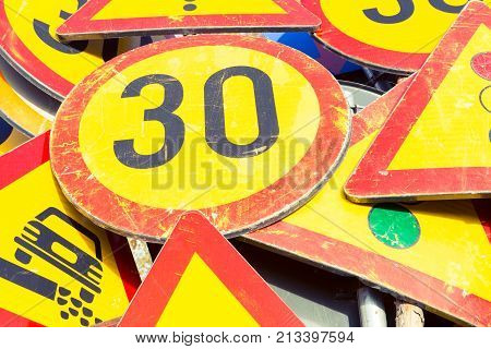 Bunch Of Road Signs Stacked After Use