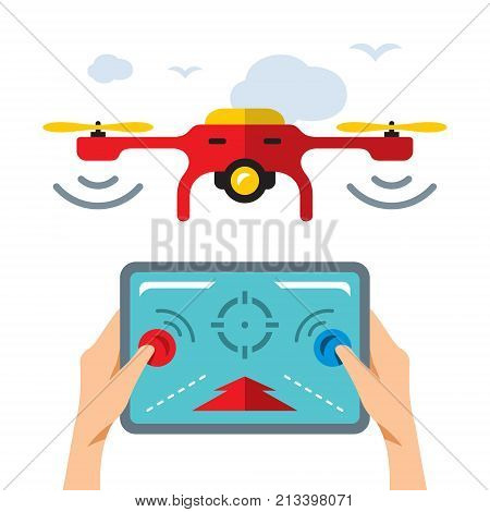 Drones fly and hands with remote control. Isolated on a white background