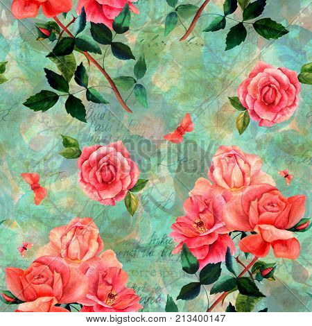 Vintage style collage. Seamless pattern with watercolor drawings of red rose flowers and butterflies, on dark green background with leaves and branches, with scraps of old letters and faded texts